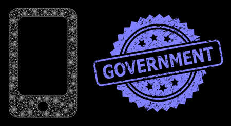 Bright mesh net smartphone with glowing spots, and Government unclean rosette stamp seal. Illuminated vector constellation created from smartphone icon.