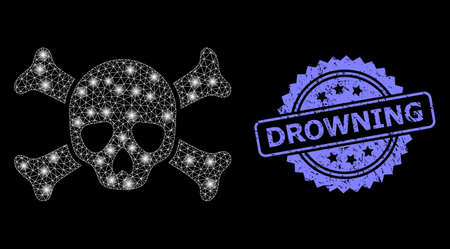 Bright mesh net death skull with lightspots, and Drowning corroded rosette seal imitation. Illuminated vector constellation created from death skull icon. Illustration