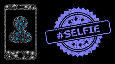 Shiny mesh network smartphone portrait with lightspots, and #Selfie unclean rosette seal. Illuminated vector model created from smartphone portrait icon. Blue seal includes #Selfie tag inside rosette.