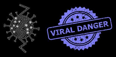 Glare mesh web virus break with lightspots, and Viral Danger dirty rosette seal imitation. Illuminated vector model created from virus break icon.