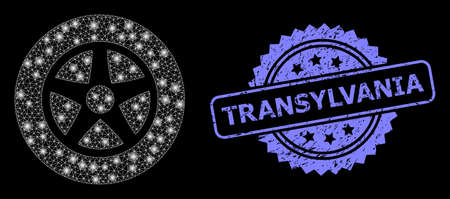 Glowing mesh net car wheel with glowing spots, and Transylvania scratched rosette stamp seal. Illuminated vector model created from car wheel icon.