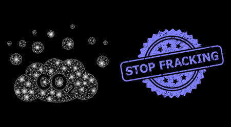 Bright mesh web CO2 gas emission with light spots, and Stop Fracking dirty rosette stamp. Illuminated vector constellation created from CO2 gas emission icon.