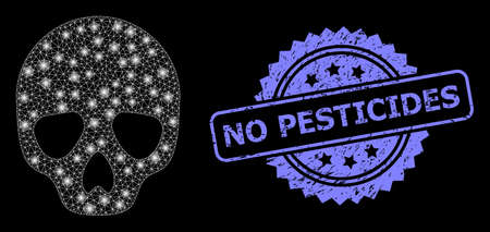 Shiny mesh web skull with light spots, and No Pesticides dirty rosette stamp seal. Illuminated vector model created from skull icon. Blue stamp seal contains No Pesticides tag inside rosette.