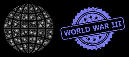 Bright mesh network globe with lightspots, and World War Iii textured rosette stamp seal. Illuminated vector model created from globe icon. Blue stamp contains World War Iii tag inside rosette.