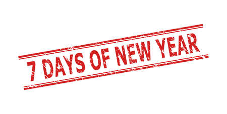 Red 7 DAYS OF NEW YEAR stamp on a white background. Flat vector grunge stamp with 7 DAYS OF NEW YEAR title inside double parallel lines. Watermark with grunge surface.