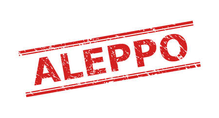 Red ALEPPO watermark on a white background. Flat vector distress watermark with ALEPPO text between double parallel lines. Watermark with grunged style.