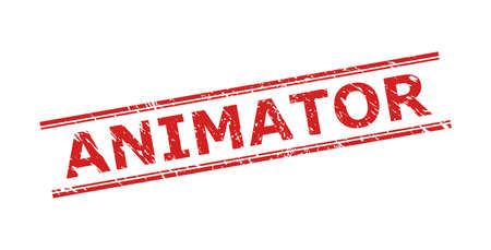 Red ANIMATOR watermark on a white background. Flat vector grunge watermark with ANIMATOR text inside double parallel lines. Watermark with distress style.