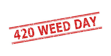 Red 420 WEED DAY stamp seal on a white background. Flat vector textured seal stamp with 420 WEED DAY title inside double parallel lines. Watermark with grunged style.