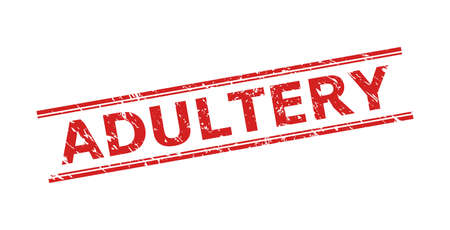 Red ADULTERY seal stamp on a white background. Flat vector distress stamp with ADULTERY title inside double parallel lines. Rubber imitation with corroded texture.
