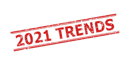 Red 2021 TRENDS seal on a white background. Flat vector textured seal stamp with 2021 TRENDS phrase between double parallel lines. Imprint with corroded texture.