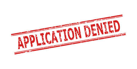 Red APPLICATION DENIED seal on a white background. Flat vector distress seal with APPLICATION DENIED phrase inside double parallel lines. Rubber imitation with scratched style.