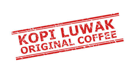 Red KOPI LUWAK ORIGINAL COFFEE stamp seal on a white background. Flat vector scratched seal with KOPI LUWAK ORIGINAL COFFEE message inside double parallel lines. Watermark with scratched surface.