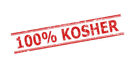 Red 100% KOSHER stamp seal on a white background. Flat vector grunge seal stamp with 100% KOSHER title between double parallel lines. Watermark with unclean style.