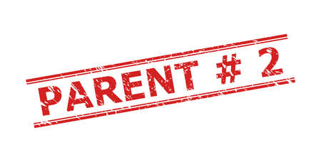 Red PARENT # 2 stamp seal on a white background. Flat vector distress seal stamp with PARENT # 2 message between double parallel lines. Imprint with grunge style.