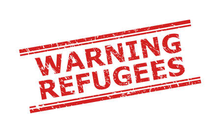 Red WARNING REFUGEES stamp seal on a white background. Flat vector distress seal stamp with WARNING REFUGEES message between double parallel lines. Rubber imitation with grunged texture.