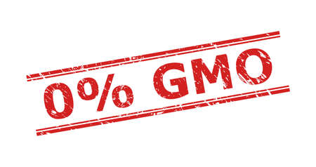 Red 0% GMO stamp seal on a white background. Flat vector scratched seal stamp with 0% GMO title inside double parallel lines. Watermark with distress texture. Ilustrace