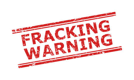 Red FRACKING WARNING watermark on a white background. Flat vector distress watermark with FRACKING WARNING title inside double parallel lines. Watermark with grunge surface.
