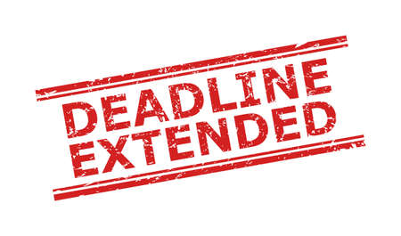 Red DEADLINE EXTENDED seal stamp on a white background. Flat vector textured seal stamp with DEADLINE EXTENDED message between double parallel lines. Rubber imitation with unclean surface.