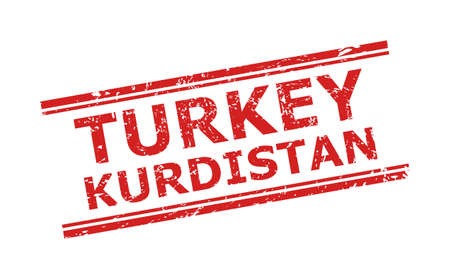 Red TURKEY KURDISTAN watermark on a white background. Flat vector distress stamp with TURKEY KURDISTAN text inside double parallel lines. Watermark with distress texture.