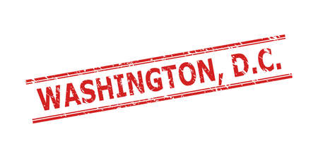 Red WASHINGTON, D.C. watermark on a white background. Flat vector distress watermark with WASHINGTON, D.C. title inside double parallel lines. Watermark with grunge style.