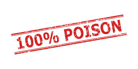 Red 100% POISON stamp seal on a white background. Flat vector grunge stamp with 100% POISON message between double parallel lines. Imprint with grunge style.