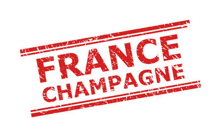Red FRANCE CHAMPAGNE stamp seal on a white background. Flat vector scratched seal stamp with FRANCE CHAMPAGNE message between double parallel lines. Rubber imitation with scratched style. Illusztráció