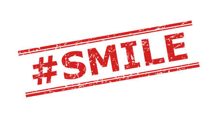 Red #SMILE seal stamp on a white background. Flat vector scratched stamp with #SMILE phrase inside double parallel lines. Imprint with scratched texture.