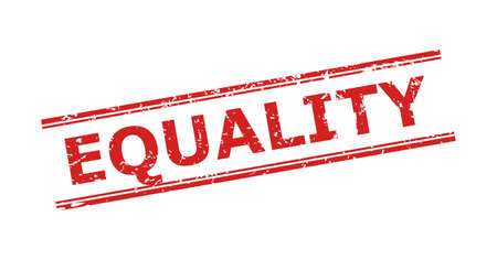 Red EQUALITY stamp seal on a white background. Flat vector scratched seal stamp with EQUALITY caption inside double parallel lines. Imprint with corroded style.