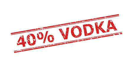 Red 40% VODKA seal on a white background. Flat vector scratched seal with 40% VODKA caption inside double parallel lines. Rubber imitation with scratched surface.