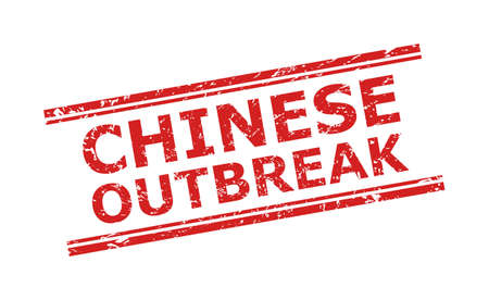 Red CHINESE OUTBREAK stamp on a white background. Flat vector scratched stamp with CHINESE OUTBREAK phrase between double parallel lines. Imprint with distress surface.