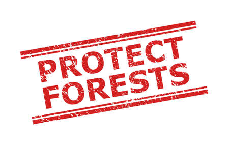 Red PROTECT FORESTS seal on a white background. Flat vector grunge watermark with PROTECT FORESTS title between double parallel lines. Watermark with unclean surface.