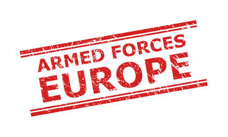 Red ARMED FORCES EUROPE seal stamp on a white background. Flat vector scratched seal stamp with ARMED FORCES EUROPE caption between double parallel lines. Imprint with scratched style.