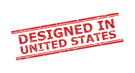 Red DESIGNED IN UNITED STATES stamp seal on a white background. Flat vector distress seal with DESIGNED IN UNITED STATES title inside double parallel lines. Watermark with corroded style.