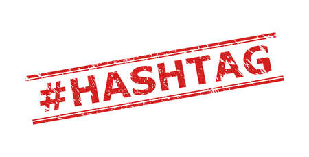 Red #HASHTAG seal on a white background. Flat vector scratched seal with #HASHTAG message inside double parallel lines. Imprint with scratched surface. Vecteurs