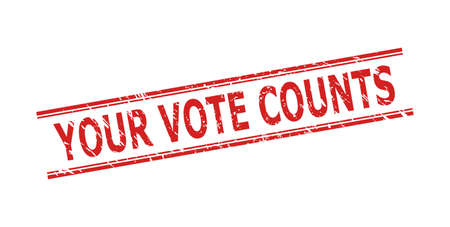Red YOUR VOTE COUNTS seal stamp on a white background. Flat vector textured seal stamp with YOUR VOTE COUNTS title inside double parallel lines. Watermark with grunged style. Vektoros illusztráció