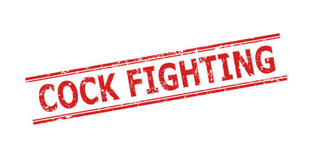 Red COCK FIGHTING seal stamp on a white background. Flat vector textured seal stamp with COCK FIGHTING phrase between double parallel lines. Watermark with unclean texture.