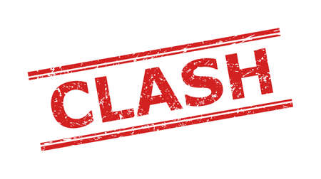 Red CLASH stamp seal on a white background. Flat vector textured seal stamp with CLASH text inside double parallel lines. Rubber imitation with corroded surface.