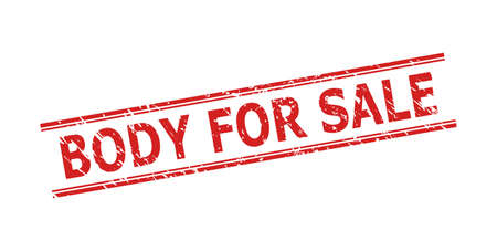 Red BODY FOR SALE stamp seal on a white background. Flat vector grunge seal stamp with BODY FOR SALE text between double parallel lines. Imprint with corroded surface.