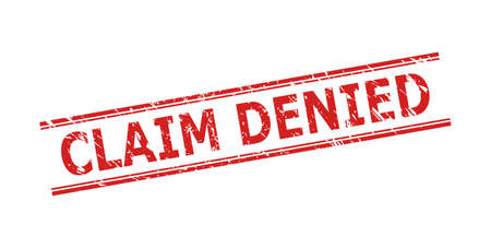 Red CLAIM DENIED seal on a white background. Flat vector distress seal with CLAIM DENIED title inside double parallel lines. Imprint with distress style.