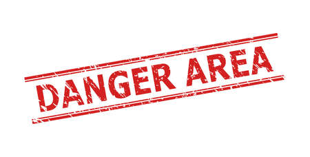 Red DANGER AREA stamp seal on a white background. Flat vector grunge watermark with DANGER AREA message between double parallel lines. Watermark with grunge surface. 向量圖像