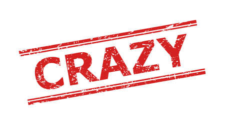 Red CRAZY watermark on a white background. Flat vector textured watermark with CRAZY text between double parallel lines. Watermark with grunged surface. 向量圖像