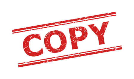 Red COPY stamp seal on a white background. Flat vector distress stamp with COPY text between double parallel lines. Imprint with distress surface.