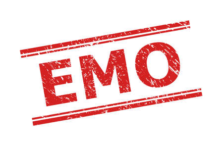 Red EMO seal stamp on a white background. Flat vector scratched seal with EMO message inside double parallel lines. Imprint with corroded surface.