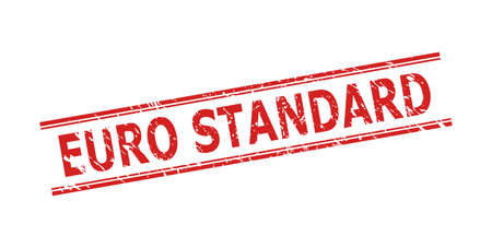 Red EURO STANDARD seal on a white background. Flat vector scratched seal stamp with EURO STANDARD phrase between double parallel lines. Imprint with scratched surface.