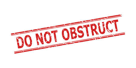 Red DO NOT OBSTRUCT seal stamp on a white background. Flat vector textured seal stamp with DO NOT OBSTRUCT message inside double parallel lines. Imprint with unclean surface. 向量圖像