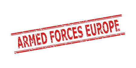 Red ARMED FORCES EUROPE stamp seal on a white background. Flat vector textured seal stamp with ARMED FORCES EUROPE caption between double parallel lines. Rubber imitation with corroded surface. Иллюстрация