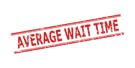 Red AVERAGE WAIT TIME seal on a white background. Flat vector distress seal stamp with AVERAGE WAIT TIME caption inside double parallel lines. Watermark with grunged texture.