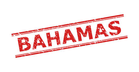 Red BAHAMAS stamp on a white background. Flat vector scratched seal stamp with BAHAMAS message inside double parallel lines. Watermark with scratched style.