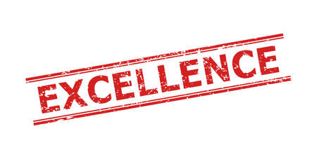 Red EXCELLENCE seal stamp on a white background. Flat vector distress seal stamp with EXCELLENCE phrase inside double parallel lines. Imprint with scratched surface.