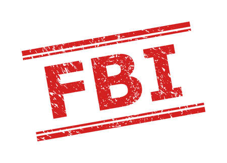 Red FBI watermark on a white background. Flat vector grunge seal stamp with FBI caption between double parallel lines. Watermark with scratched texture.